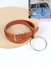 Fashion Dark Brown Big Circular Ring Decorated Pure Color Waistband