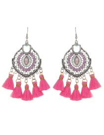 Fashion Pink Tassel Decorated Hollow Out Earrings