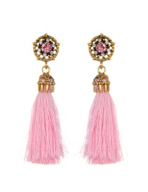 Fashion Pink Tassel&diamond Decorated Simple Earrings