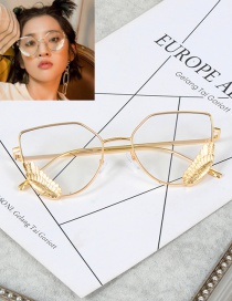 Fashion Gold Color Wings Decorated Pure Color Glasses