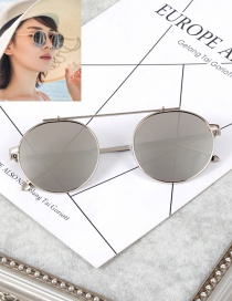 Fashion Silver Color Pure Color Decorated Round Shape Frame Glasses