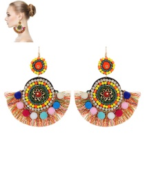 Fashion Multi-color Fuzzy Ball&tassel Decorated Simple Pom Earrings