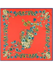 Fashion Red Flower Pattern Decorated Simple Scarf