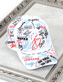 Fashion White Graffiti Pattern Decorated Baseball Cap