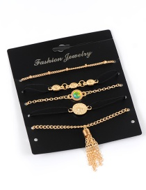 Fashion Gold Color Tassel&diamond Decorated Ring Sets(5pcs)