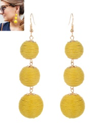 Fashion Yellow Beads Decorated Pure Color Simple Earrings