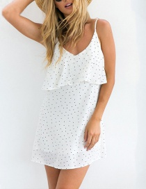 Elegant White Dots Pattern Decorated Backless Long Dress