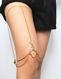 Fashion Gold Color Diamond Decorated Simple Anklet (1 Pcs)