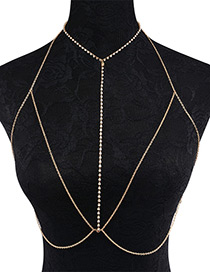 Fashion Gold Color Diamond Decorated Simple Body Chain