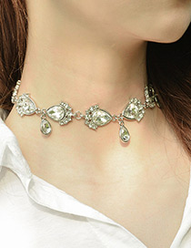 Fashion Silver Color Water Drop Shape Decorated Simple Necklace