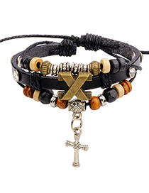 Fashion Black Cross Shape Decorated Simple Bracelet