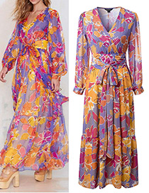 Fashion Orange+purple Flower Pattern Decorated Simple Dress