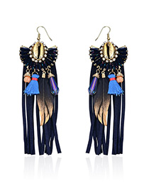 Fashion Multi-color Feather&tassel Decorated Simple Earrings
