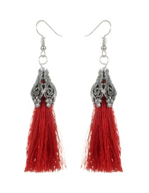 Fashion Claret Red Tassel Decorated Simple Earrings