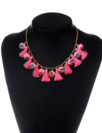 Fashion Pink Tassel&balls Decorated Simple Necklace