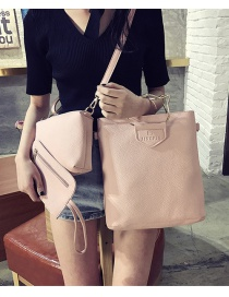 Fashion Pink Cat Shape Decorated Pure Color Shoulder Bag(3pcs)