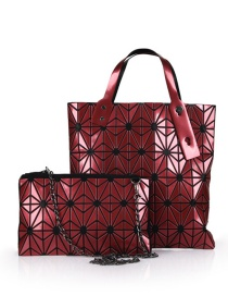 Fashion Claret Red Grid Pattern Decorated Pure Color Handbag (2pcs)