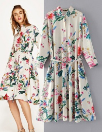Trendy Multi-color Flower Pattern Decorated Long Dress