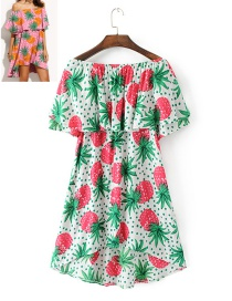 Trendy Multi-color Pineapple Pattern Decorated Short Sleeves Dress