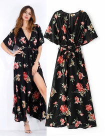 Vintage Black+red Flower Pattern Decorated V Neckline Long Dress