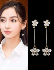 Trendy Gold Color Flowers Shape Decorated Simple Earrings