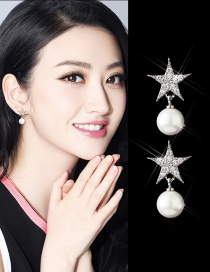 Trendy Silver Color Stars&pearls Decorated Pure Color Earrings