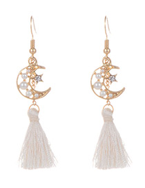 Fashion Beige Tassel&moon Decorated Simple Earrings