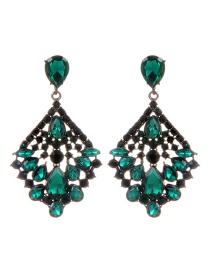 Fashion Green Diamond Decorated Square Shape Earrings