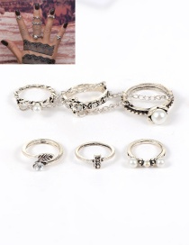Fashion Silver Color Pearl Decorated Flower Shape Simple Ring (4 Pcs)