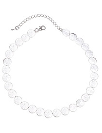 Fashion Silver Color Discs Shape Decorated Simple Necklace