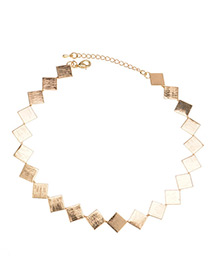 Fashion Gold Color Square Shape Decorated Simple Necklace
