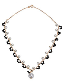 Fashion Gold Color Pearl Decorated Simple Necklace