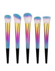 Fashion Blue+purple Color Matching Decorated Simple Makeup Brush (5 Pcs)