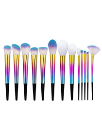 Fashion Multi-color Sector Shape Decorated Simple Makeup Brush (13 Pcs)