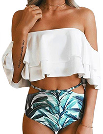 Sexy White Leaf Pattern Decorated Simple Swimwear