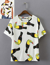 Fashion Yellow+white Parrot Pattern Decorated Simple Shirt