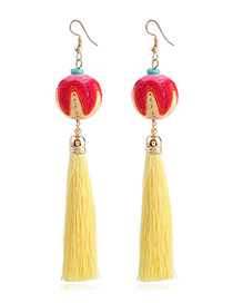 Fashion Yellow Round Balls&tassel Decorated Earrings