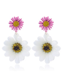 Fashion White Flowers Shape Decorated Simple Earrings