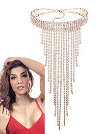 Fashion Gold Color Long Tassel Decorated Pure Color Necklace