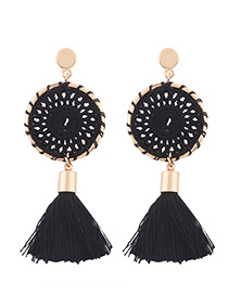 Fashion Black Tassel Decorated Pure Color Hand-woven Earrings