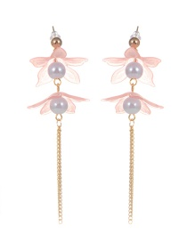 Fashion Pink Pearl Decorated Flower Shape Earrings