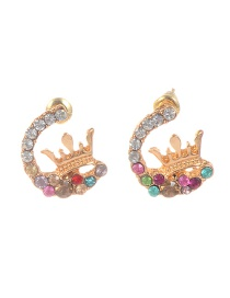Fashion Gold Color Diamond Decorated Crown Shape Earrings