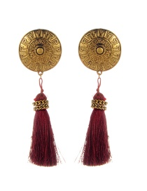 Fashion Claret Red Round Shape&tassel Decorated Simple Earrings