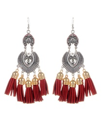 Fashion Claret Red Tassel Pendant Decorated Simple Earrings