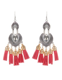 Fashion Watermelon Red Tassel Pendant Decorated Simple Earrings