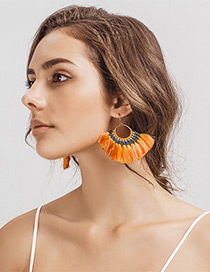 Fashion Orange Tassel Decorated Simple Hand-woven Earrings