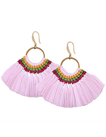 Fashion Pink Tassel Decorated Simple Hand-woven Earrings