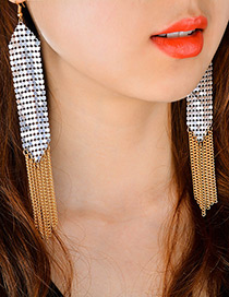 Fashion Silver Color Long Tassel Decorated Simple Earrings