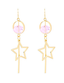 Vintage Gold Color Stars Decorated Hollow Out Earrings