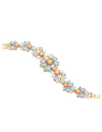 Vintage Multi-color Diamond Decorated Flower Shape Bracelet
